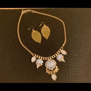 Statement necklace & gold tone leaf earrings